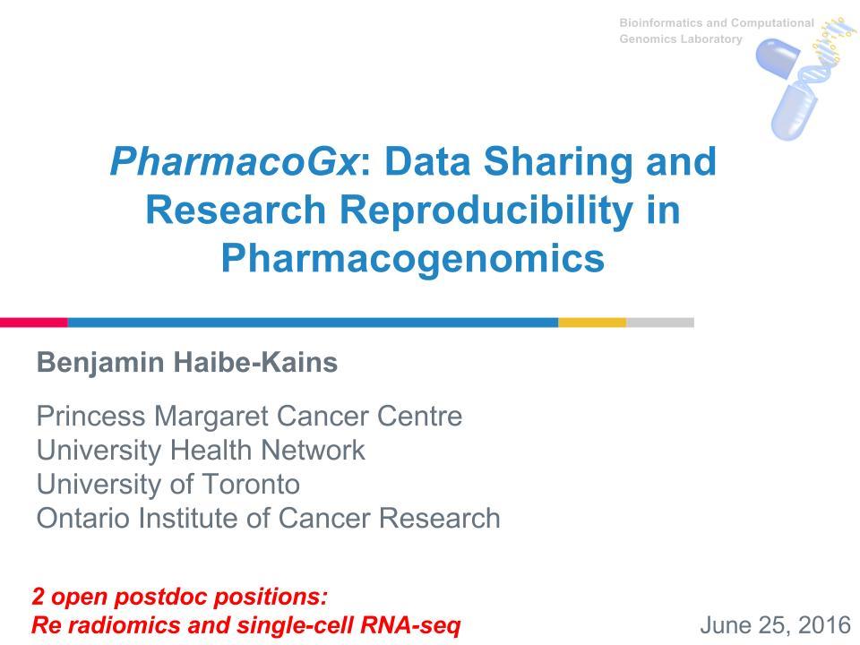 Presentations | Princess Margaret Bioinformatics and Computational